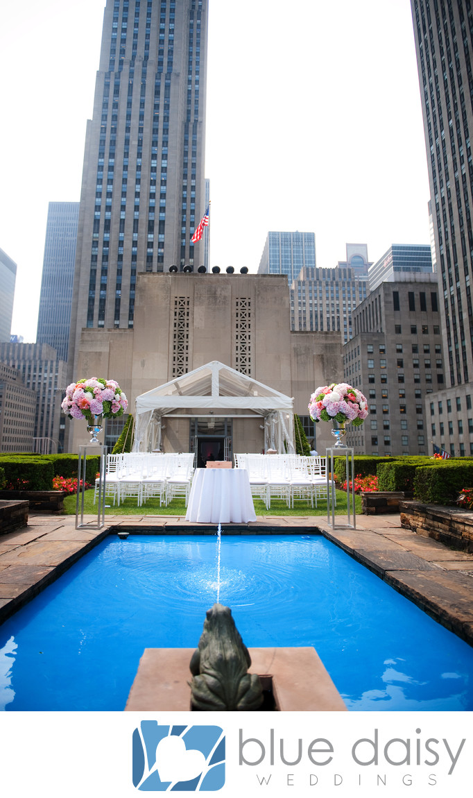 Rockefeller Center rooftop garden pool wedding ceremony