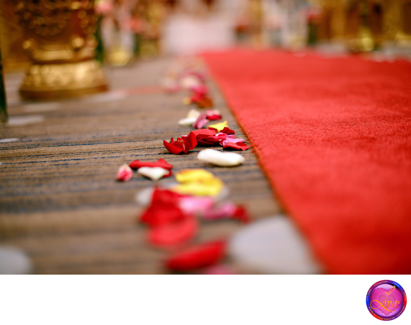 Indian Wedding Red Carpet Rose Aisle Photographer GA