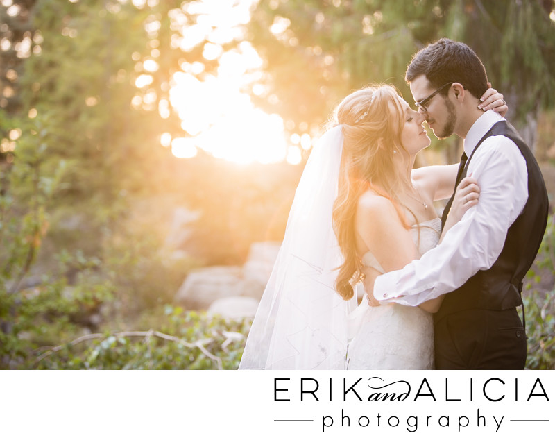 sunset kiss bride and groom at blu woods north spokane
