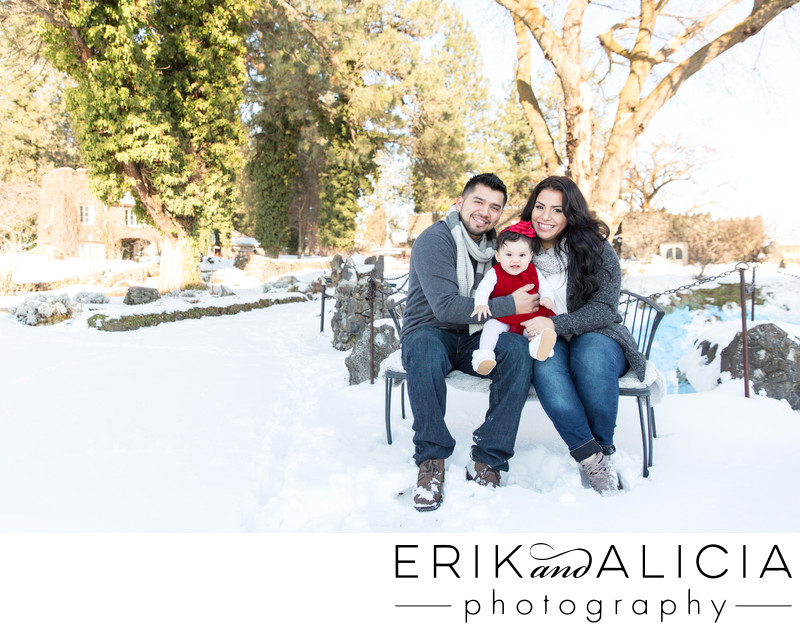 winter snow outdoor family portrait