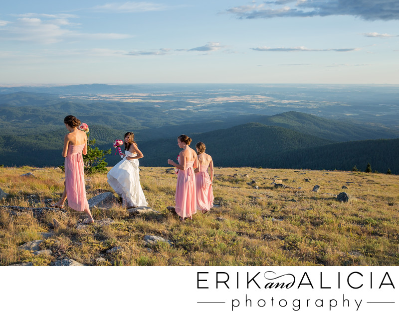 Bride walking with bridesmaids on top of the world