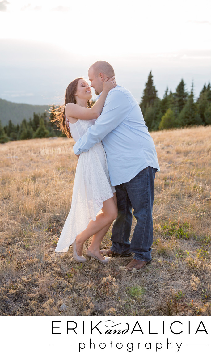 mountain top dance dip engagement session