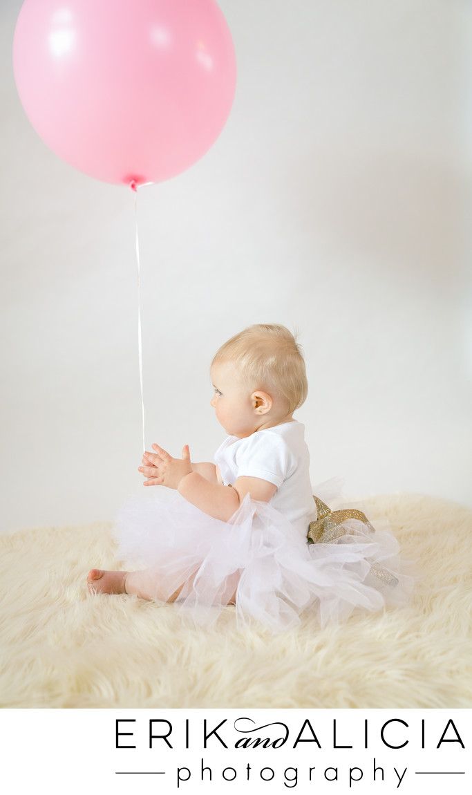 baby profile one pink balloon for one year old