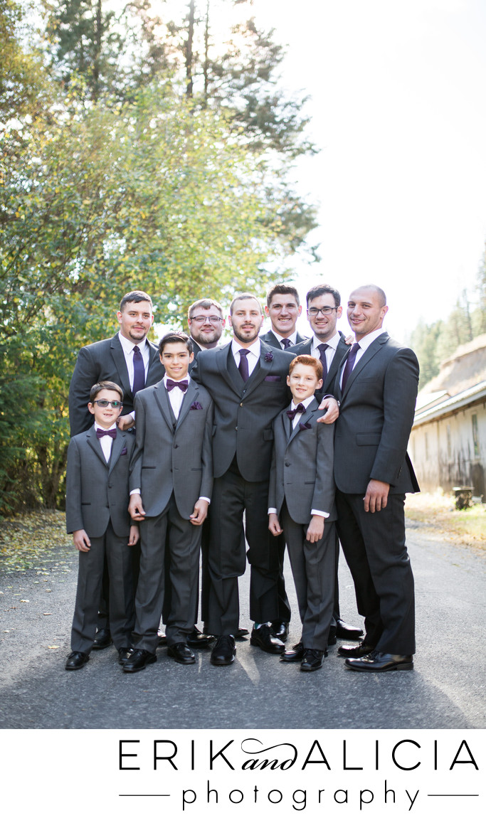 fantastic gray suit groom with his men