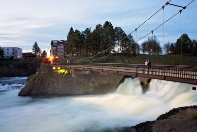 Spokane River Falls grand bridge engagement photo