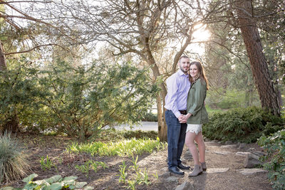 Manito Park glowing engagement in woods