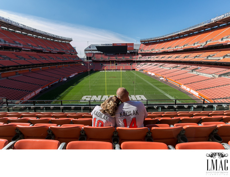 Amazing Engagement Photos in the Cleveland Browns Stadium