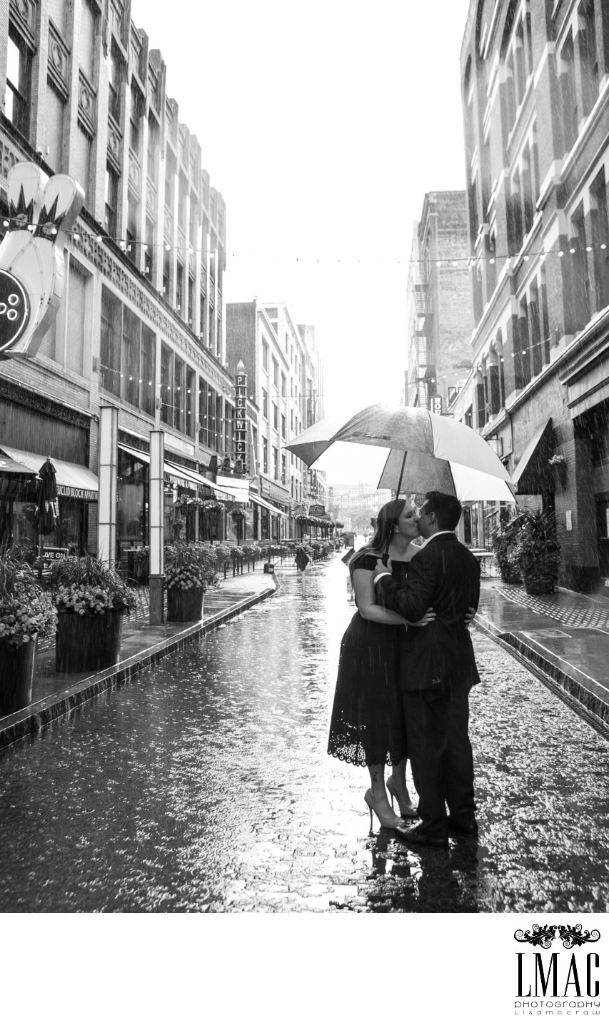 A Rainy and Beautiful Engagement on Cleveland's E 4th