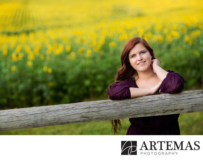 Baltimore Maryland senior photography sunflower field
