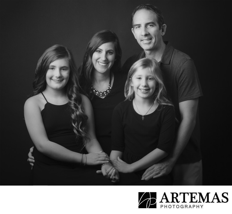 Black And White Family Portrait Photography