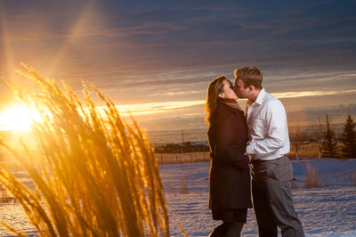 Engagement pictures at sunset in Montana