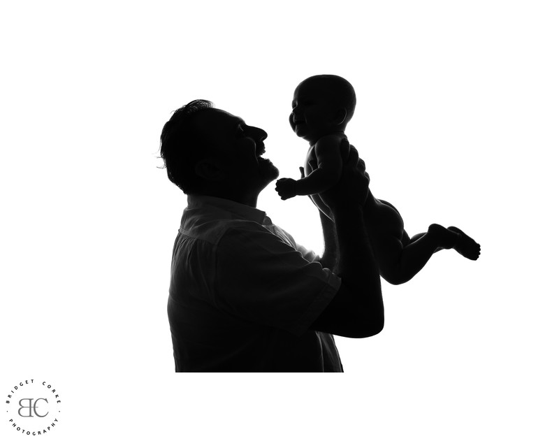 Father and Baby Silhouette Photograph in Studio