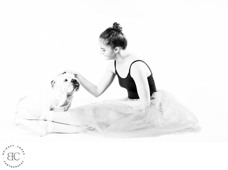 Dancer with Bulldog Photographed by Pet Photographer