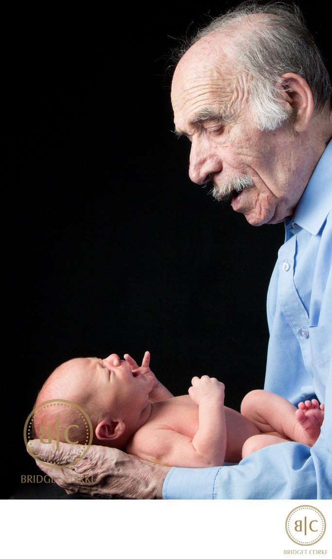 Grandfather and Newborn Photographic Shoot