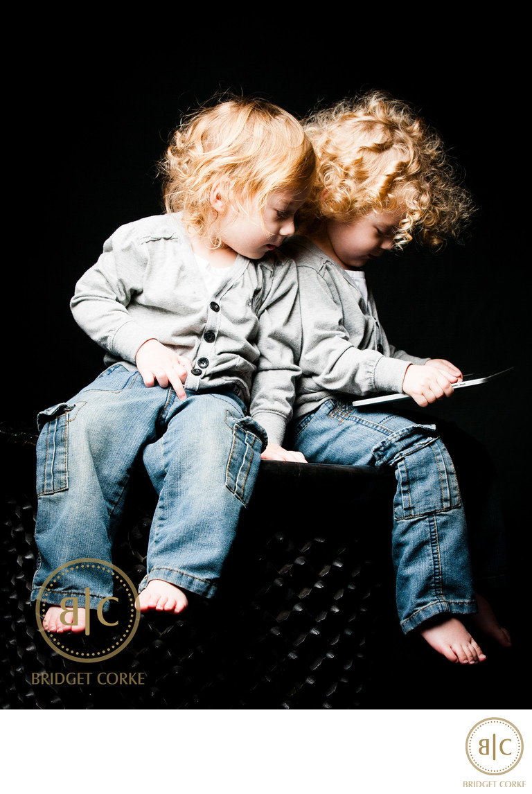 Twins with iPad Photographed in Johannesburg Studio
