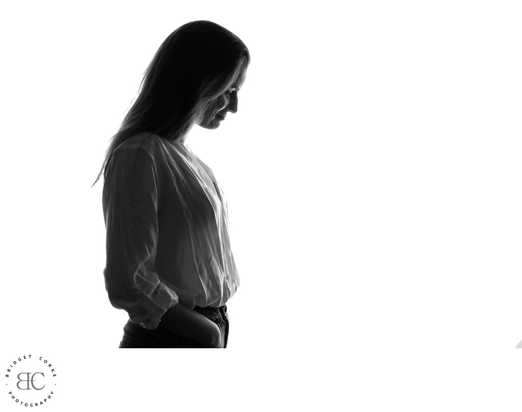 Teenager Photographed in Studio Silhouette Style