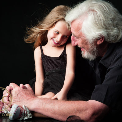Studio Photograph of Grandpa and Granddaughter