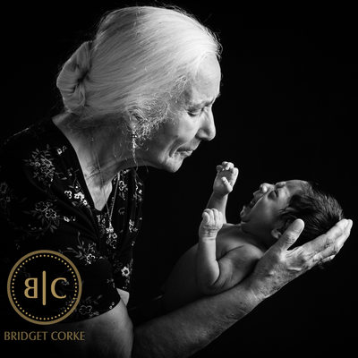 Grandmother Photographed With Newborn in Johannesburg Studio