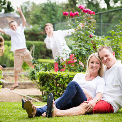 Family Photographed in Garden in Waverley