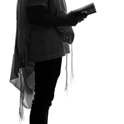 Silhouette Portrait Study of Barmitzva Boy with Tallit Photographed by Bridget Corke in Studio