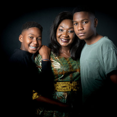 Mother and Teenager Sons During Family Studio Shoot in Johannesburg