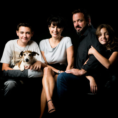 Family Photo Shoot in Johannesburg Studio Including Teenagers and Pet Dog