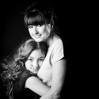 Portrait Study In Black and White of Teenager and Mother Photographed In Johannesburg Studio Shoot