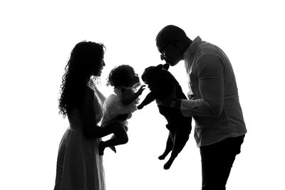 Baby and Dog Silhouette Shoot in Johannesburg Studio