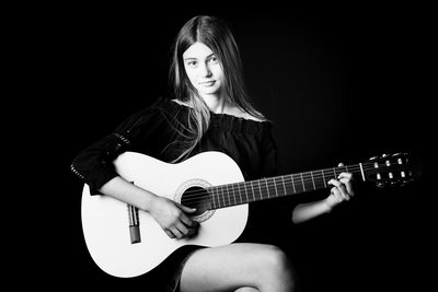 Teenager Portrait Study with Guitar Bridget Corke