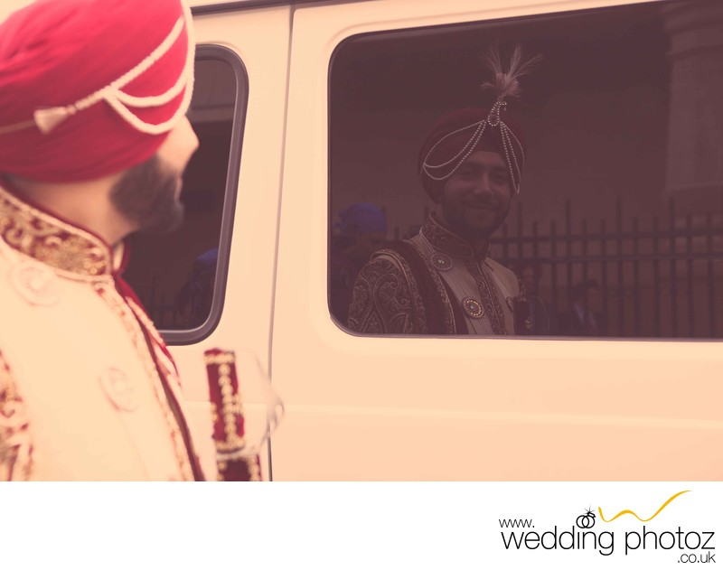 Groom on his way to his Sikh wedding ceremony