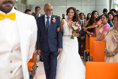 Bride's special moment with Father walking the Isle