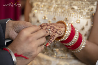 Ring exchange for Indian couple at their civil wedding