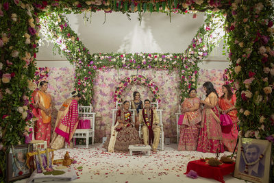 Fresh Floral Mandap Wedding Photographs