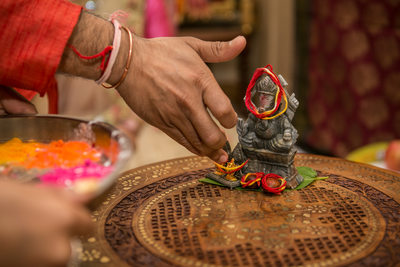 Ganesh Puja at Bride's house before Indian Wedding the next day