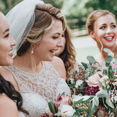 Brides maid laughing at Farm Wedding in Nashville