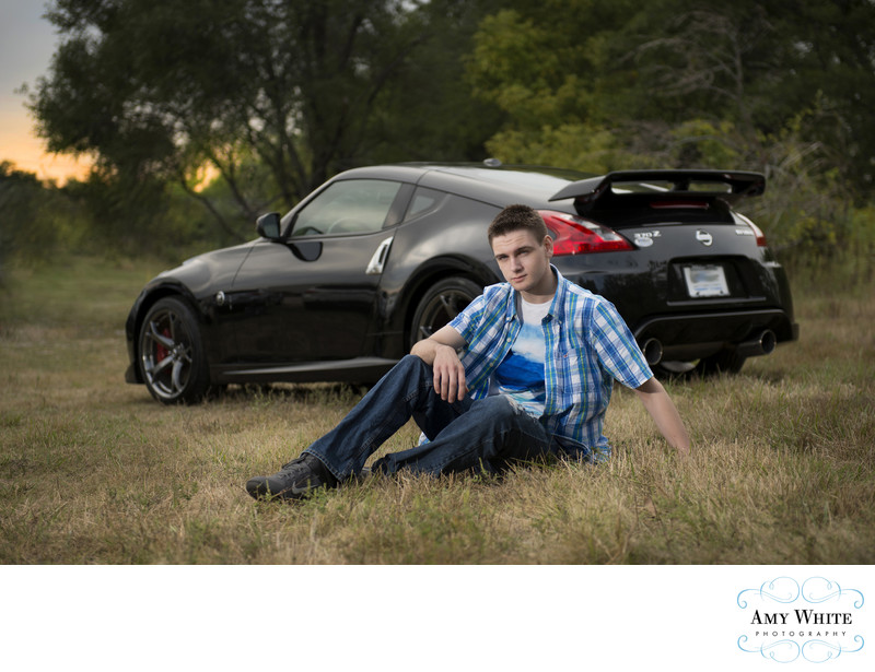 Senior Portraits with car in Cedar Rapids