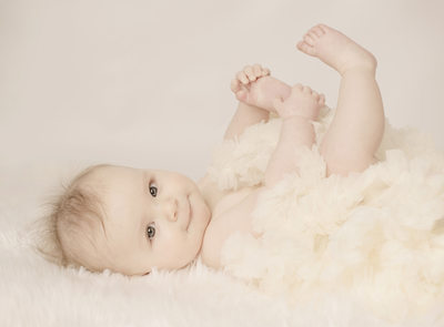 Four month old baby girl in our Cedar Rapids studio
