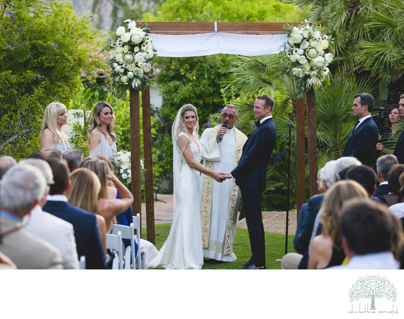 colony palms hotel wedding ceremony on the lawn