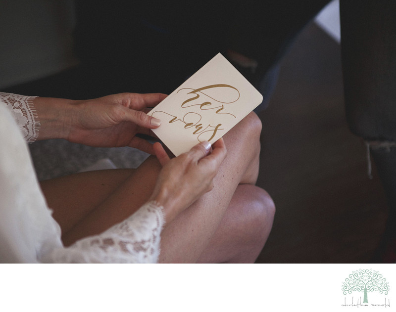 The bride and groom write own vows. Sweet keepsake books
