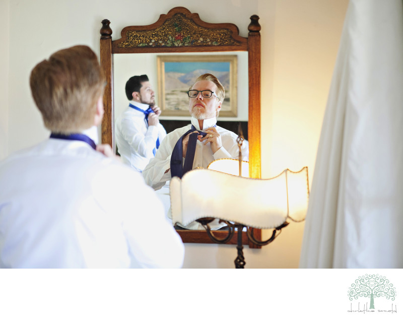 Grooms getting ready together on the wedding day