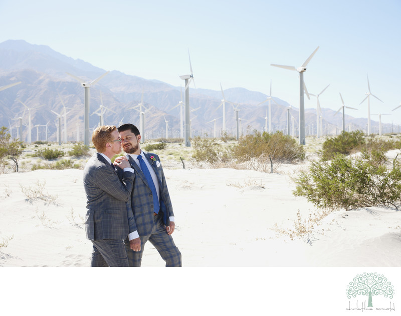 Desert wedding day portraits at the Palm Springs Windmills, wind turbines
