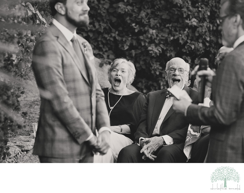 Parents reaction shot, priceless!  Same sex wedding.