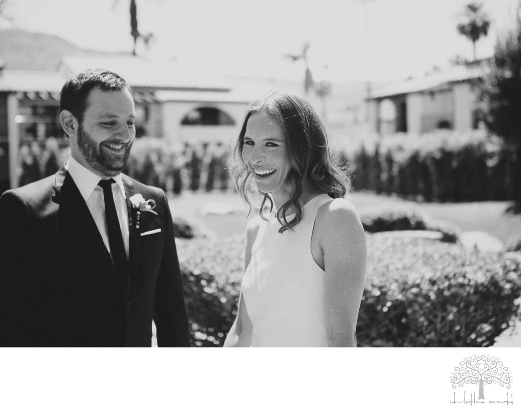 Rancho Las Palmas outdoor candid bridal photos