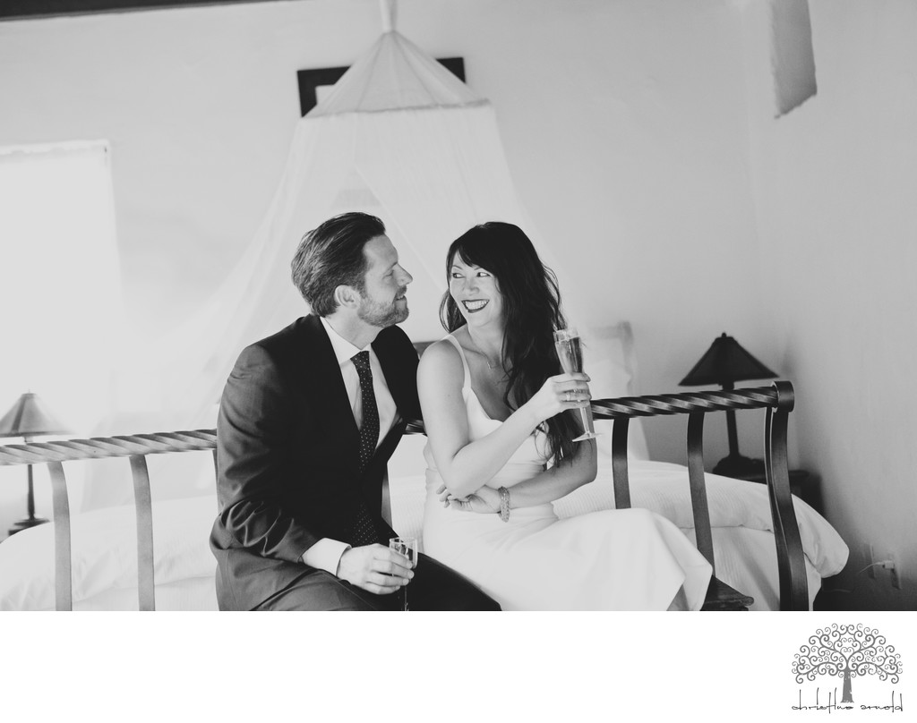 Candid wedding photos at Korakia elopement Palm Springs