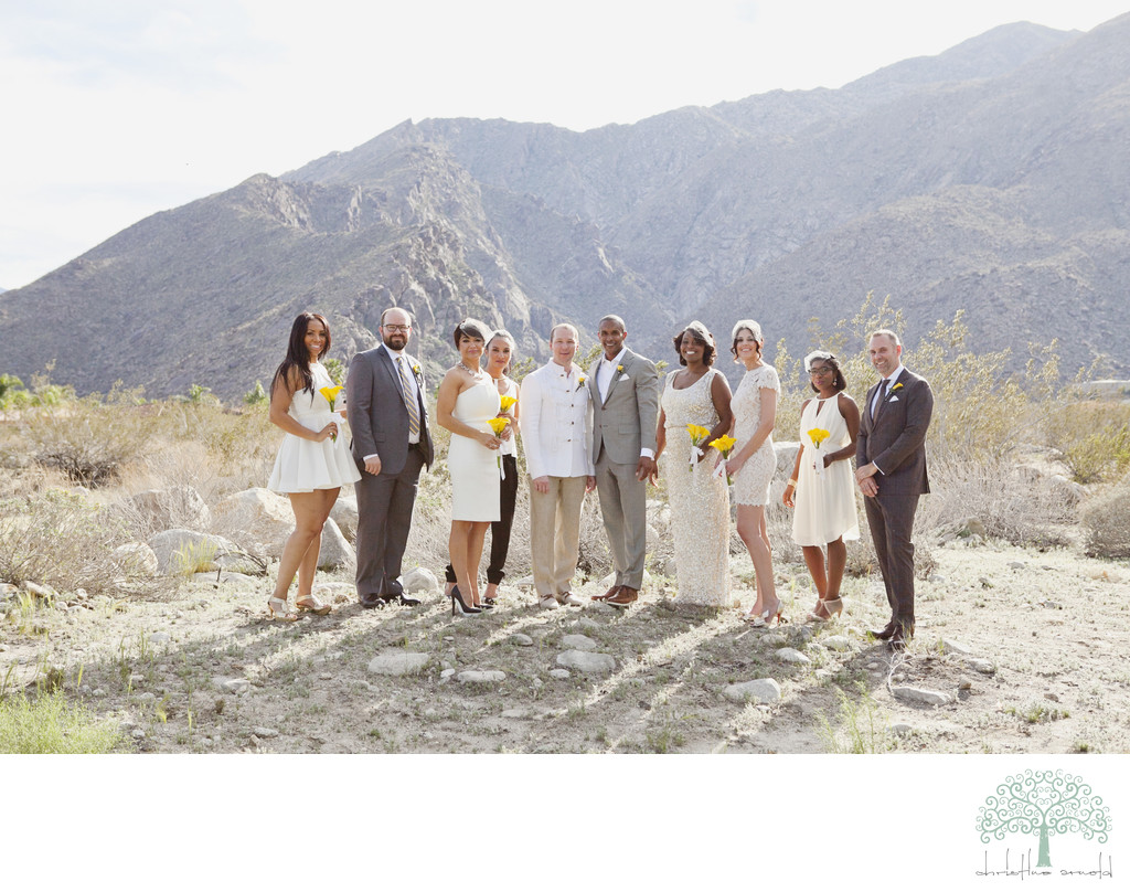 Sexy desert wedding party photographs Palm Springs