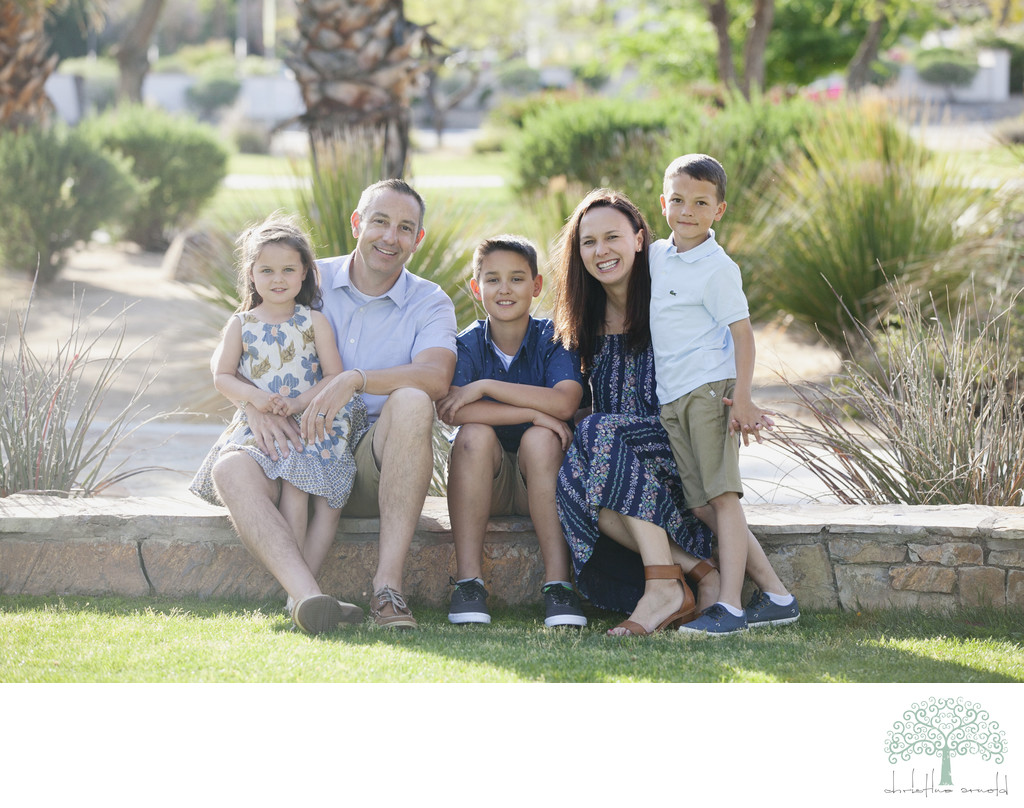 Outdoor family photo session in a park, Palm Springs Ca.