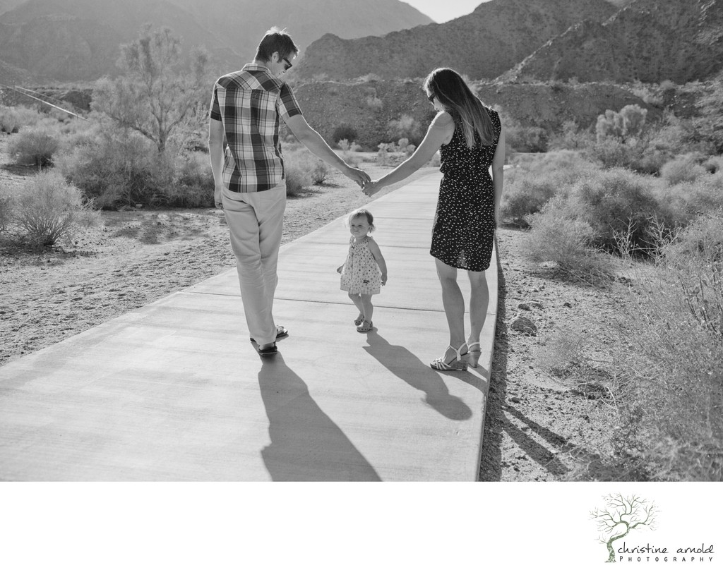 Documentary black and white family photos in the desert
