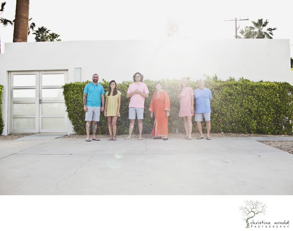 Palm Springs mid-mod inspired family photography
