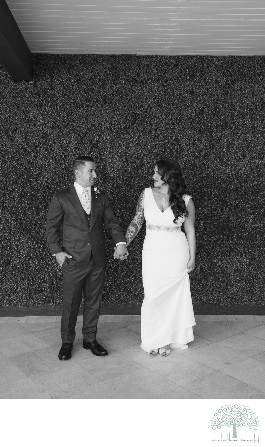 Bride and Groom portrait at Riviera Hotel, Palm Springs
