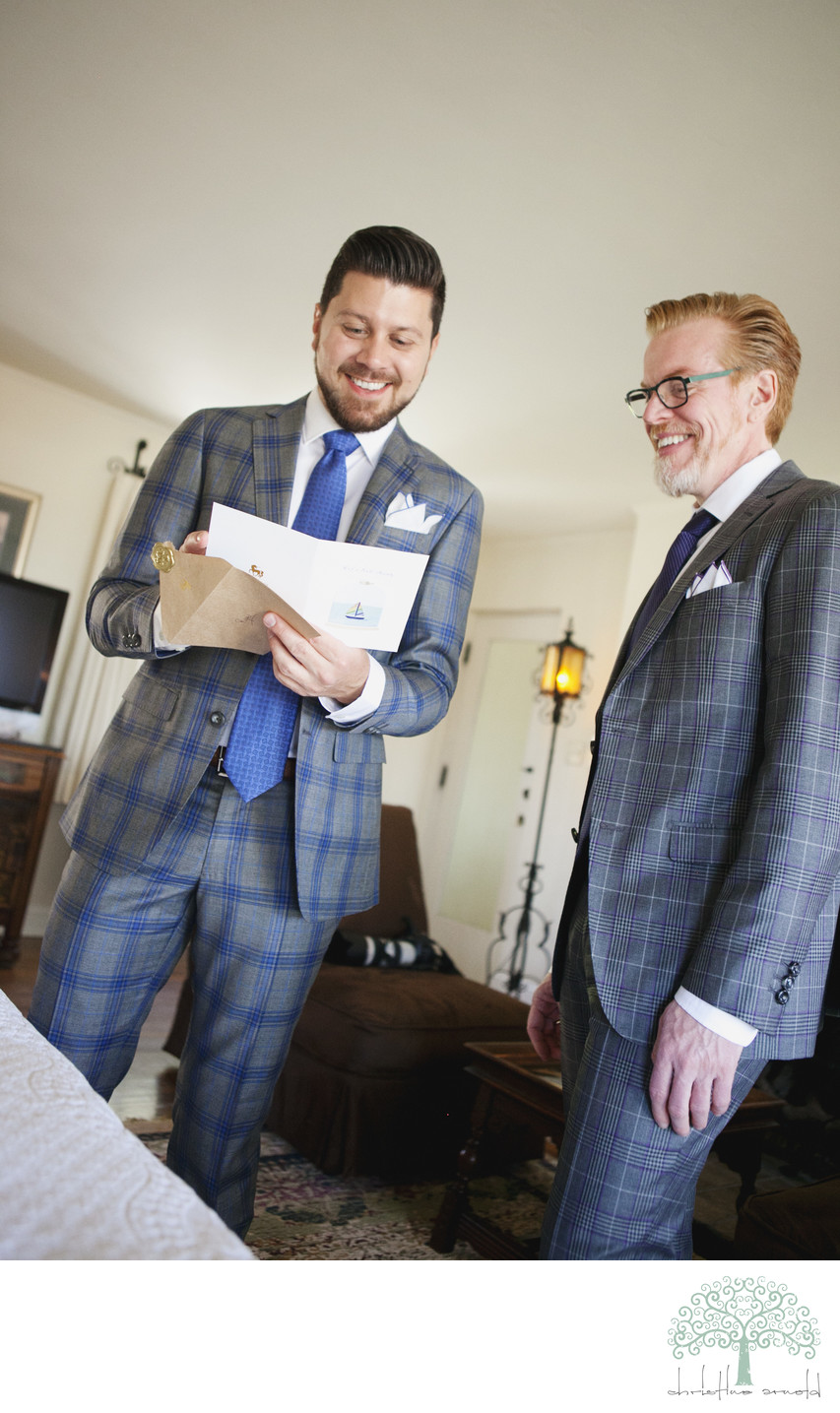 Two grooms exchange gifts Palm Springs O'Donnell House